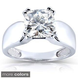 Annello 14k White Gold Cushion-cut Moissanite Solitaire Ring