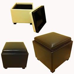Classic Faux Leather Square Storage Ottoman