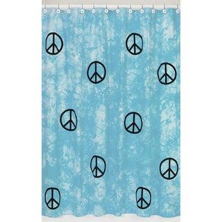 Sweet Jojo Designs Turquoise Groovy Peace Sign Tie Dye Shower Curtain