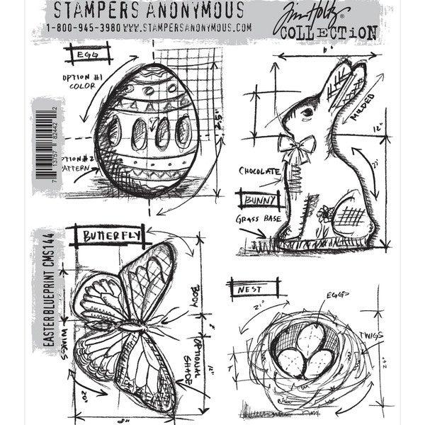 Tim Holtz Cling Rubber Stamp Set-Easter Blueprint