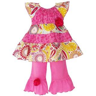 Ann Loren Girl's Sunburst Floral Tunic and Capri Outfit
