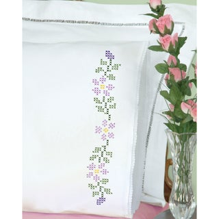 Stamped Pillowcases With White Lace Edge 2/Pkg-Starflowers