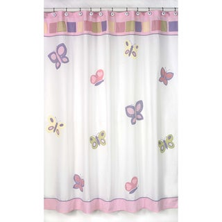 Sweet Jojo Designs Pink and Purple Butterfly Kids Shower Curtain