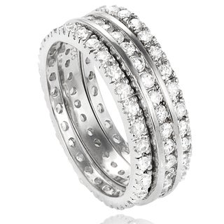 Journee Collection Sterling Silver Round-cut Cubic Zirconia 3-piece Eternity Band Set (2 mm)