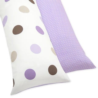 Purple and Brown Mod Dots Reversible Full Length Double Zippered Body Pillow Case Cover by Sweet JoJo Designs