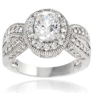 Journee Collection Sterling Silver Round/Oval Cubic Zirconia Bridal-style Ring