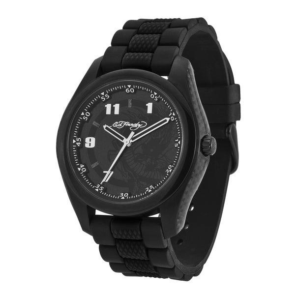 Ed Hardy Men's Carbon Fiber and Steel Black 'Dragon' Watch