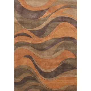 Alliyah Handmade Caramel New Zealand Blend Wool Rug (9x12)