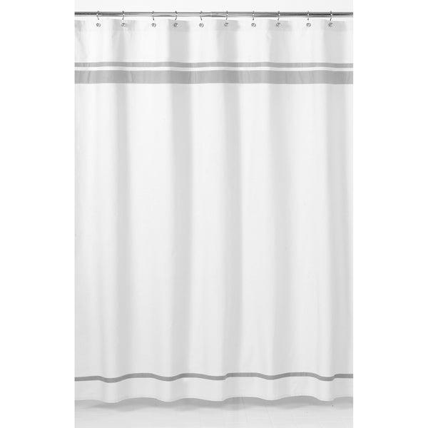 Sweet Jojo Designs White and Grey Hotel Shower Curtain