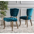 Christopher Knight Home Bates Tufted Grey Fabric Dining Chairs (Set of 2)