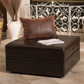 Christopher Knight Home Burlington Brown Leather Storage Ottoman