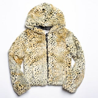 CoffeeShop Girls Kids Faux Fur Animal Print Hooded Jacket