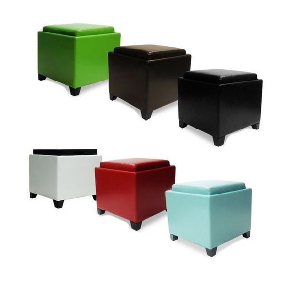 contemporary storage ottoman with tray overstock