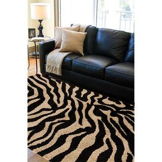 Meticulously Woven Black/White Zebra Aquila Animal Print Rug (5'3 x 7'3)