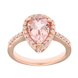 14k Rose Gold 1/5ct TDW White Diamond Morganite Ring (G-H, SI1)