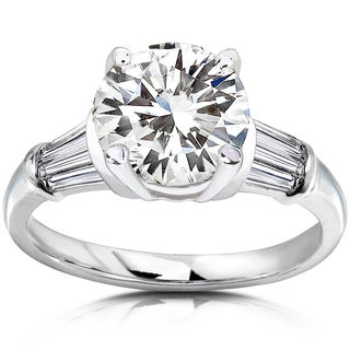 Annello 14k Gold Round-cut Moissanite and 1/2ct TDW Diamond Engagement Ring (H-I, I1-I2)
