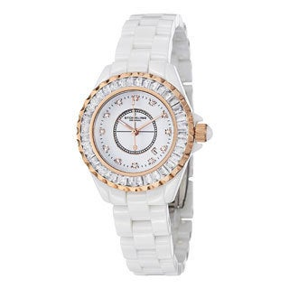 Stuhrling Original Women's Glamour II Quartz Crystal White-Ceramic-Link Bracelet Watch