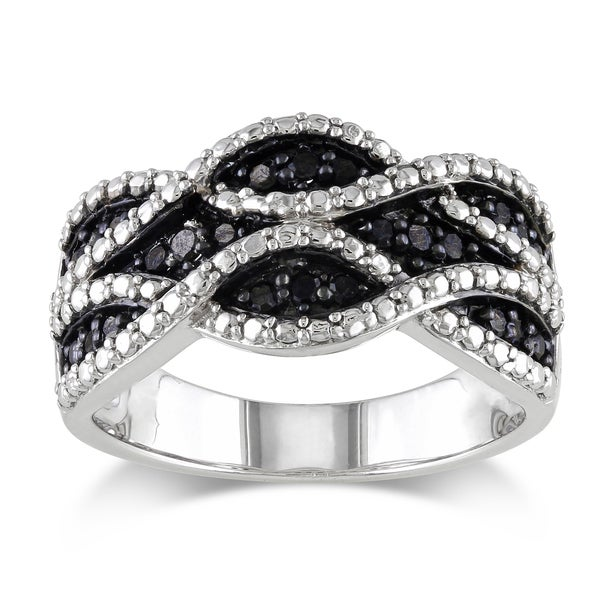 Haylee Jewels Sterling Silver 1/4ct TDW Black Diamond Ring