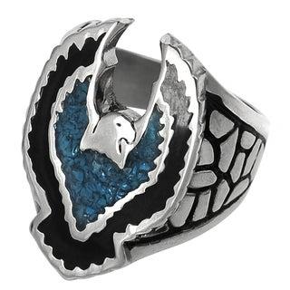 Vance Co. Men's Stainless Steel Black Acrylic Turquoise Bird Design Ring