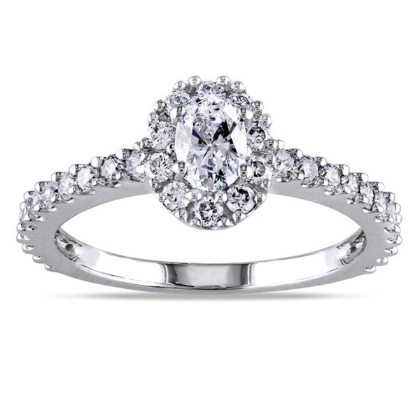 Miadora 14k White Gold 1ct TDW Oval Halo Diamond Ring (G-H, I1-I2)