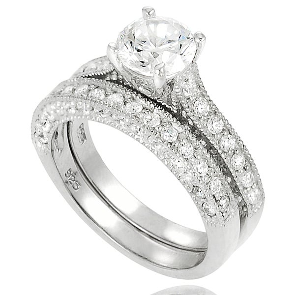 Journee Collection Sterling Silver Cubic Zirconia Round Bridal Ring