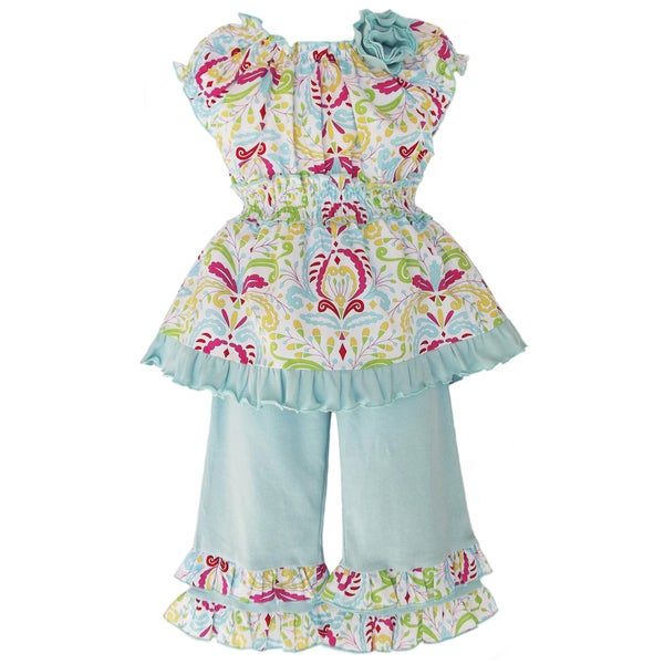AnnLoren Girls Blue Floral Damask Outfit