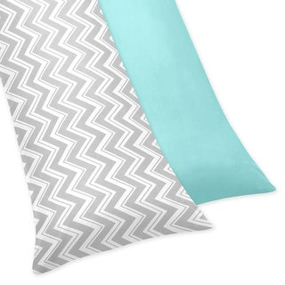 Sweet Jojo Designs Turquoise/ Grey Chevron Print Reversible Pillowcase