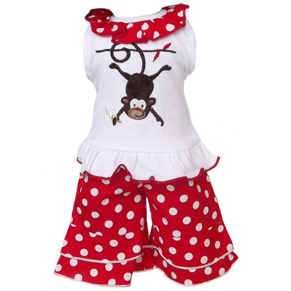 AnnLoren 2 Piece Monkey & Polka Dot Outfit Fits American Girl Doll