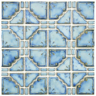 SomerTile 11.75x11.75-in Luna Diva Blue Porcelain Mosaic Tile (Pack of 10)
