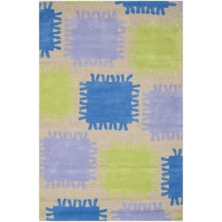 Safavieh Handmade Children's Patches Beige New Zealand Wool Rug