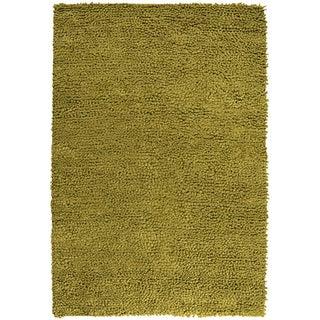 Handwoven Skoda Lime Plush Shag New Zealand Felted Wool Rug (9' x 12')