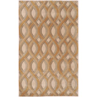 Candice Olson Hand-tufted Molfetta Tan Geometric Plush Wool Rug (9' x 13')