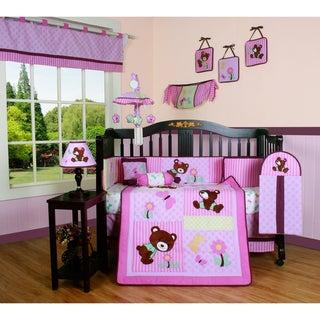Pink Teddy Bear 13-piece Crib Bedding Set
