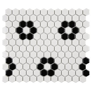 SomerTile Victorian Hex 1-inch Flower Porcelain Mosaic Tile (Pack of 10)