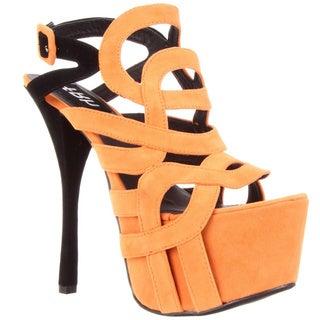 Fahrenheit Women's 'Jean-03' Strappy Platform Sandals