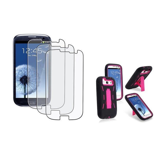 INSTEN Hybrid Phone Case Cover/ Anti-glare Protector for Samsung Galaxy S III/ S3
