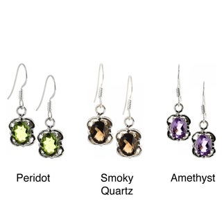 Handmade Sterling Silver Faceted Gemstone Earrings (India)