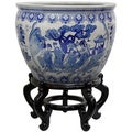 Porcelain 16-inch Blue and White Ladies Fishbowl (China)