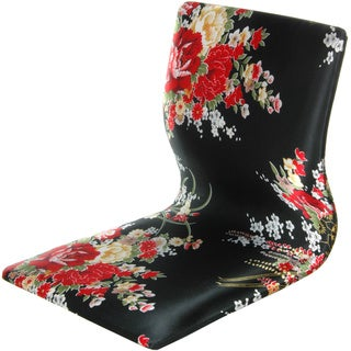 Tatami Black and Red Hibiscus Meditation Backrest Chair (China)
