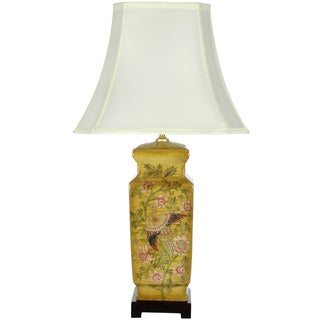 Birds and Flowers Wooden Design Porcelain Lamp (China)