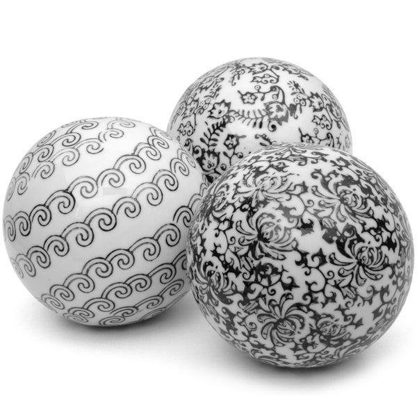 Set of 3 Black and White Decorative 4-inch Porcelain Ball (China)
