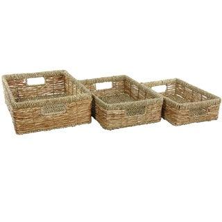 Hand Woven Low Basket Tray Set (China)