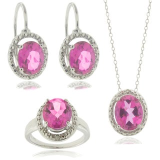 Dolce Giavonna Silver Pink Topaz and Diamond Accent Pendant, Earrings, Ring or Set