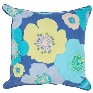 Contemporary Duck Canvas Blue Floral Square Pillows (Set of 2)