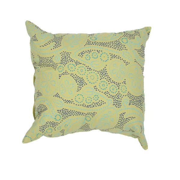 Contemporary Cotton Green Square Pillows (Set of 2)