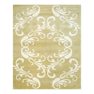 Indo Hand-tufted Light Green/ Ivory Wool Area Rug (8' x 10')