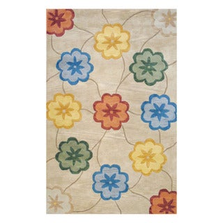 Indo Hand-tufted Beige/ Gold Wool Area Rug (8' x 10')