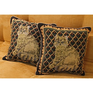 Tapestry Corded Cat Throw Pillows (Set of 2)