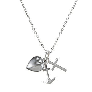La Preciosa Sterling Silver Cross, Heart and Anchor Necklace
