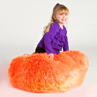 Sullivan Children's Neon Orange Faux Fur Bean-bag Lounge Chair